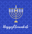 happy chanukah calligraphic with menorah vector image vector image
