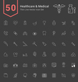 Healthcare and Medical Thin Icon Set vector image vector image