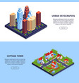 isometric city horizontal banners vector image vector image