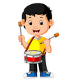 kid playing with a drum vector image