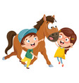 kids with horse vector image
