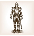 Knight Armour and sword sketch vector image vector image