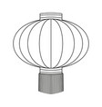 line art black and white chinese paper lantern vector image
