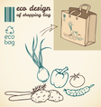 line drawing of vegetables for printing on the bag vector image