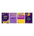mardi gras party greeting card set or invitations vector image vector image
