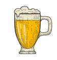 mug beer in engraving style design element vector image vector image