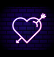 neon heart and arrow icon decoration and vector image