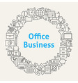 office life line art icons set circle vector image vector image