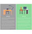 office workplace table with lamp comfortable chair vector image vector image