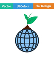 Planet with sprout icon vector image vector image