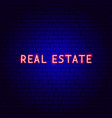 real estate neon text vector image vector image