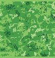 seamless green camouflage of pixel pattern vector image vector image
