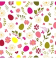 seamless pattern from eggs and flowers vector image