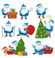 set of christmas santa claus in blue coat vector image vector image