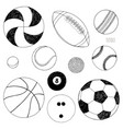 set of sport balls hand drawn sketch vector image