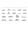 ships concept line style icons set vector image vector image