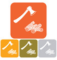 the ax and firewood icon vector image