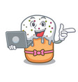 with laptop easter cake character cartoon vector image vector image