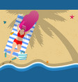 woman relaxing on beach leisure tan sparetime vector image vector image