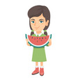 young caucasian girl eating delicious watermelon vector image