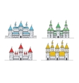 Medieval fortress or castles set Flat style icons vector image