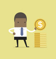 african businessman puts gold coin in a pile vector image vector image