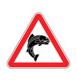 attention fish red prohibitory road sign danger vector image vector image