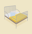 bed with pillows and blankets vector image vector image