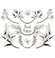black floral text frames branches laurels vector image vector image