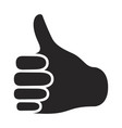 black silhouette of right hand thumb up vector image vector image
