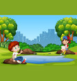 boy and girl at the park vector image vector image