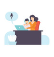 boy and his mother talking online using web camera vector image vector image