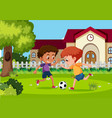 boys playing football at garden vector image