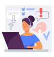 call center online customer support woman operator vector image vector image