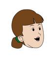 cartoon woman head female character vector image