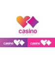 Casino logo icon poker cards or game and hearts vector image