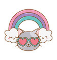 cat with heart sunglasses vector image vector image