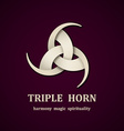 celtic triple horn symbol design template vector image vector image