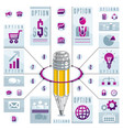 creative infographics concept pencil centered vector image vector image