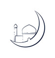 crescent moon outline mosque design vector image vector image