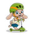 cute cartoon baby rabbit riding electric scooter