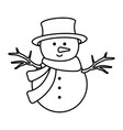 cute snowman christmas character vector image vector image