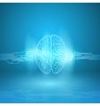 Digital brain on blue background vector image vector image