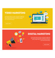 digital marketing banners set business strategy vector image vector image