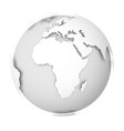 earth globe 3d world map with white lands vector image vector image