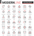 ecology flat line icon set of vector image vector image