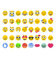 Emoji set of isolated on white emoticons stickers