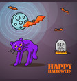 halloween linear banner with scared cat and moon vector image vector image