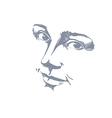 Hand-drawn monochrome portrait of delicate vector image vector image