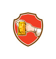 Hand Holding Mug Beer Crest Retro vector image vector image